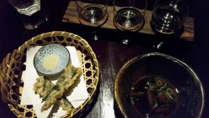 Shrimp Tempura mit Sakeauswahl.
