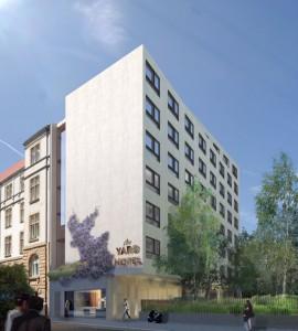 Die Visualisierung zeigt, wie harmonisch sich das neue Hotel in das Stadtbild einfügt.