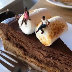 S'mores Cheesecake mit Marshmallows dekoriert.