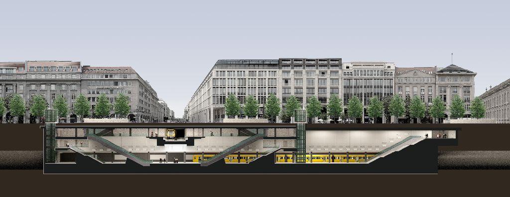 Der neue Bahnhof Unter den Linden.