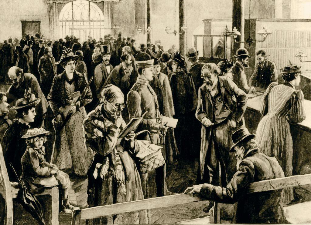 Sparen früher: Schalterraum der Berliner Sparkasse im Mühlendammgebäude, nach einer Zeichnung von Albert Kiekebusch, 1894