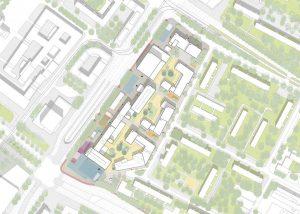 Der Entwurf sieht ein Neben- und Miteinander von Wohnungen sowie gewerblichen, kulturellen und soziale Nutzungen vor.