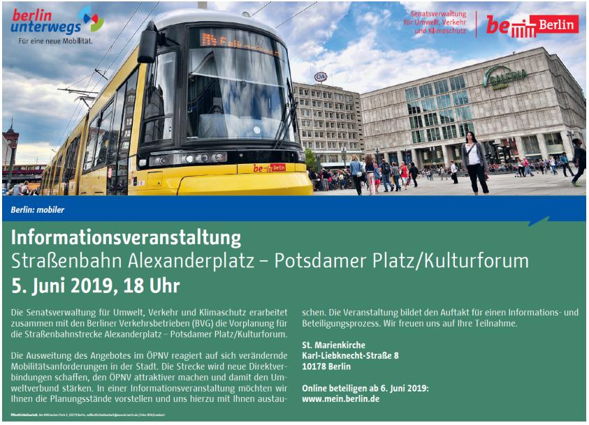 Die Öffentlichkeit wird zum Neubau der Tram-Strecke informiert.