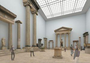 Der Hellenistische Saal beeindruckt mit seinen groß-architektonischen Bauten in Zukunft auf dem Rundgang Antiker Architekturen innerhalb des Pergamonmuseums.