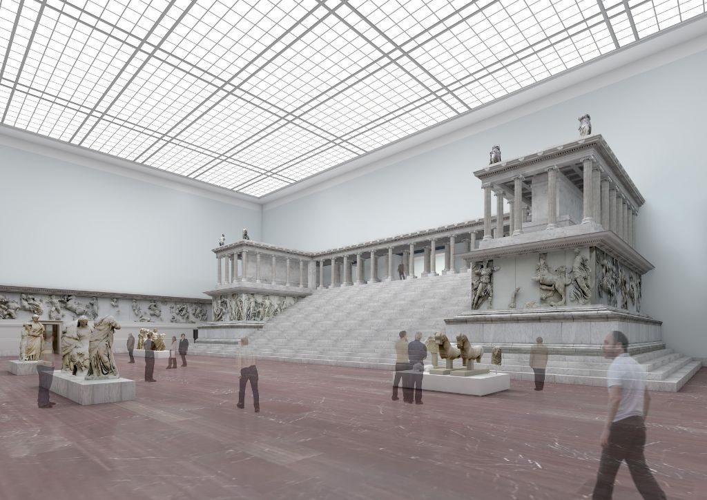 Der Pergamonsaal wird nach seiner Wiedereröffnung den weltberühmten Pergamonaltar perfekt in Szene setzen.