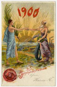 Postkarte zur Jahrhundertwende 1900 mit Telegrafenlinie, Lokomotive, Fabrikschornsteinen und Dampfer vor der aufgehenden, alles erleuchtenden Sonne.