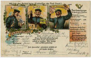 Ermäßigte Gebühren für Soldatenbriefe, Pakete und Postanweisungen trugen dazu bei, die Korrespondenz zwischen Soldaten in der Kaserne oder im Feld und ihren Angehörigen lebendig zu halten.