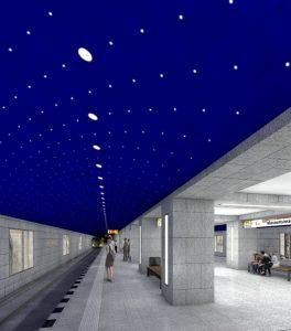 Die Decke im Bahnhof Museumsinsel wird zum Sternenhimmel. Visualisierung: Max Dudler