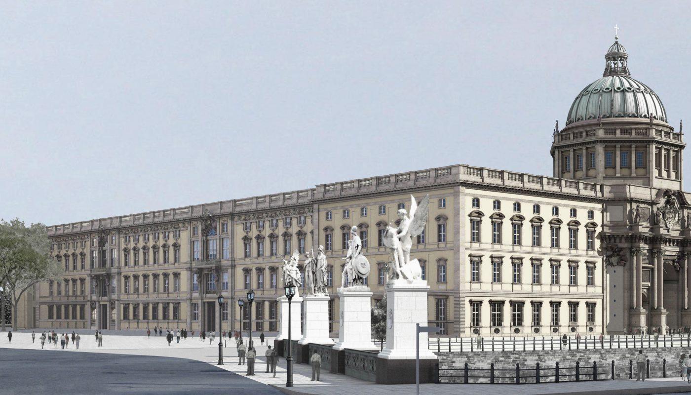 Ansicht des neuen Berliner Schlosses von der Nord-West-Seite.