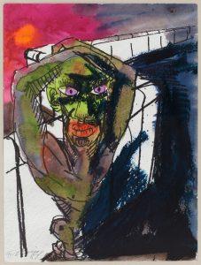 """Rainer Fettings """"Figur an der Mauer"""" von 1987 ist in der Ausstellung """"Gezeichnete Stadt"""" zu sehen."""