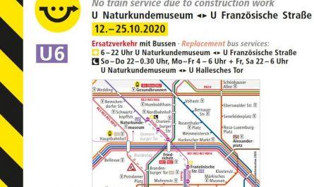 Zwischen U Naturkundemuseum und Französischer Straße ist für 14 Tage Ersatzverkehr eingerichtet.