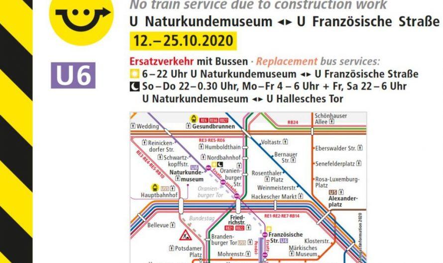 U6: Ersatz zwischen Naturkundemuseum und Französischer Straße