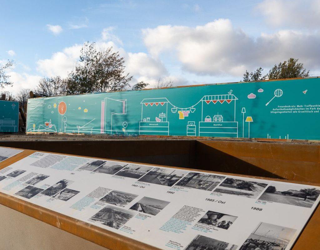 Die Open-Air-Ausstellung im neuen Eingangsbereich vom Mauerpark.