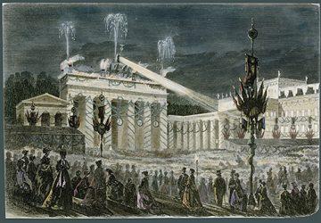 """""""Das Triumphfest in Berlin – Die Illumination des Brandenburger Tores am Abend des 16. Juni 1871"""". Farbiger Holzstich nach einer Zeichnung von E. Wilberg. © bpk, Bild-Nr. 00003656"""