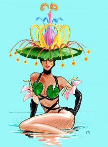 Spektakuläre Kostüme wie das der Wasserlilie sind für ARISE geplant. Kostümdesign & Illustration: Stefano Canulli